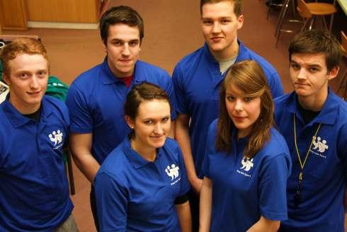 Stepping into sport, Northallerton College students, L-R, front, Lucy Clarkson, Anna Morris, back, Fergus Roberts, Josh Fitter, Michael Bush and James Greenwell