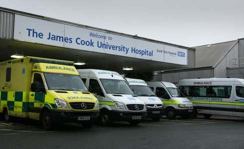 Ambulances outside The James Cook University Hospital in Middlesbrough.