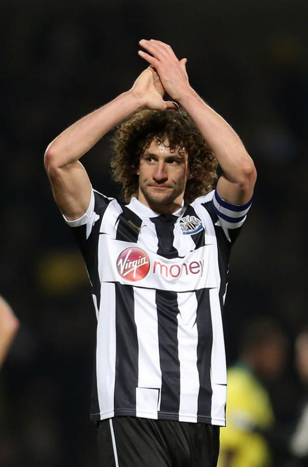 FAREWELL? Fabricio Coloccini applauds the Newcastle fans at Norwich on Saturday - was it his final time in a Magpies shirt?