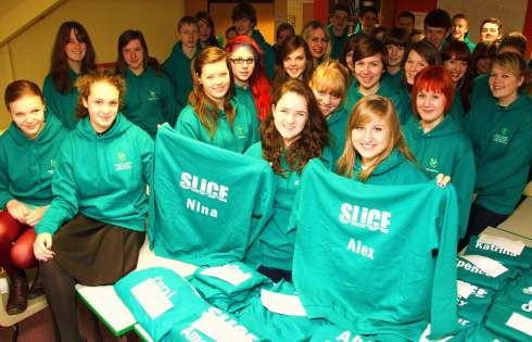 Giving the community a 'hoods' up, student volunteers at Northallerton College wear their new sweatshirts with pride