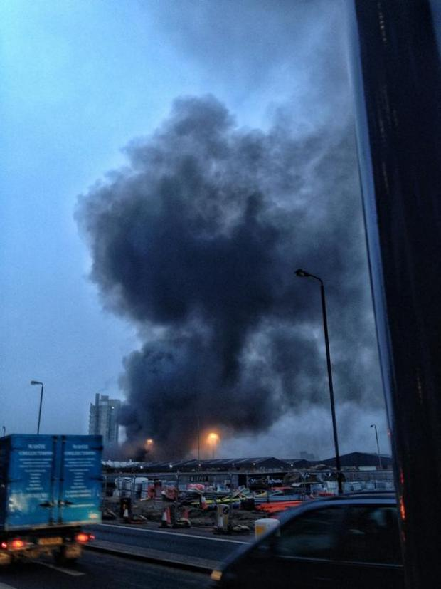 Photograph by Quin Murray taken moments after helicopter crash in London this morning.