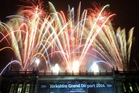 Fireworks mark the occasion at Leeds Town Hall