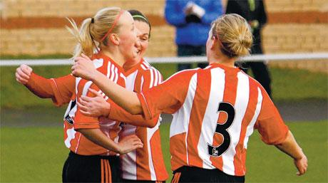 HAT-TRICK HERO: Beth Mead is pictured celebrating her hat-trick last weekend