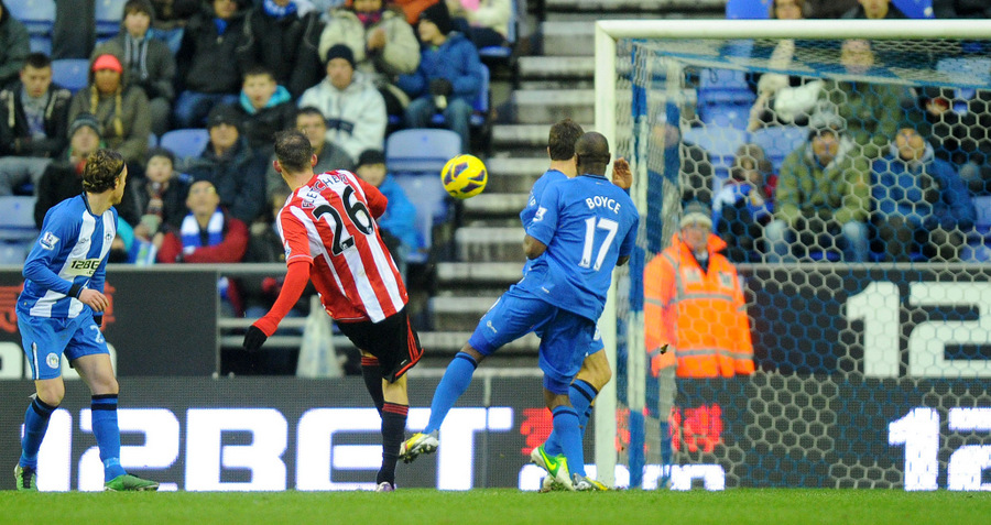 AT THE DOUBLE: Sunderland's Steven Fletcher scores his team's third goal, his second of the game, to clinch the points at Wigan Athletic on Saturday