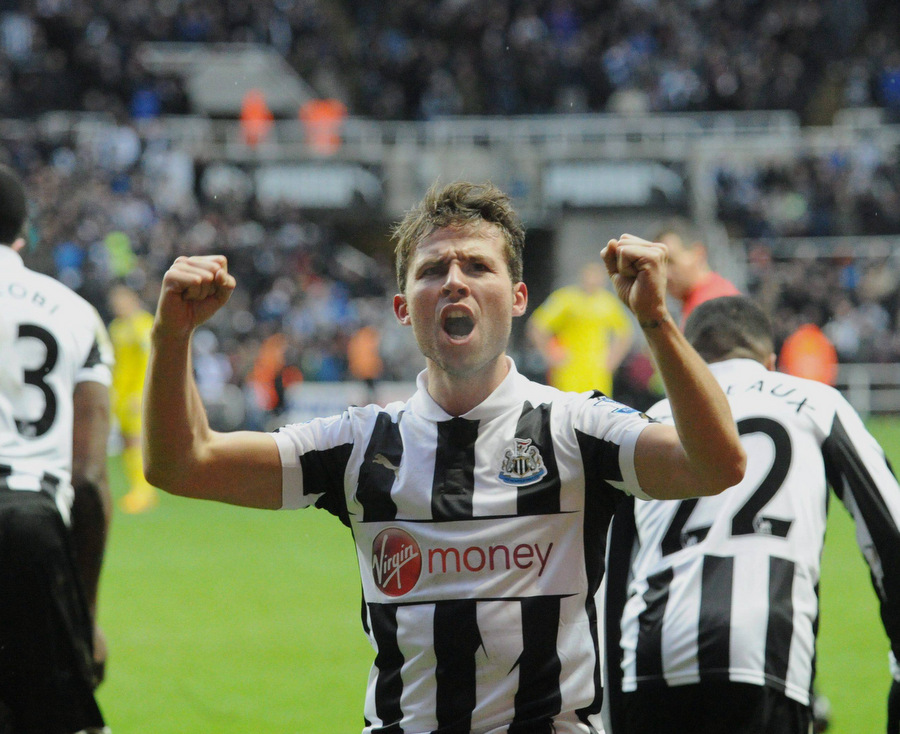 SHORT-LIVED CELEBRATIONS: Yohan Cabaye takes the applause of the Gallowgate after scoring a first-half free-kick, but saw two Adam le Fondre goals cancel Newcastle's lead at St James Park