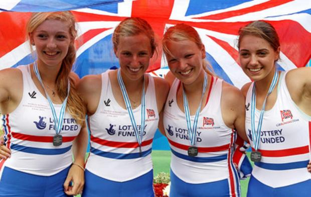 Nicole Lamb, second right, with her rowing teammates