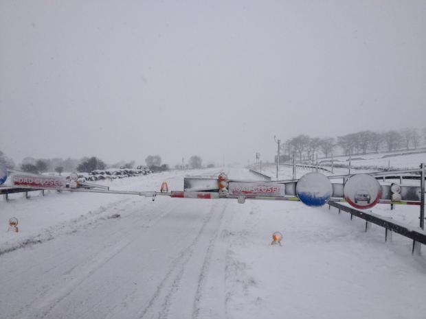 TAKE CARE: The snowbound A66 near Bowes highlights conditions in upland areas.