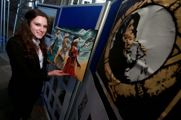 TALENT SHOW: 17-year-old Emi Hall, from St Leonard's School, with her work.