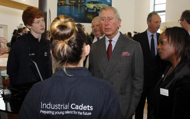 YOUTH SKILLS PROJECT: Prince Charles visits the Jaguar Land Rover Halewood Operations Centre in Merseyside, yesterday, to help launch the Industrial Cadets initiative