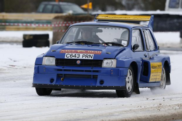 TITLE DEFENCE: Last year's Jack Frost Stages Rally winners Chris Wise and Tracey Taylor West tackling Tower Bend at Croft circuit