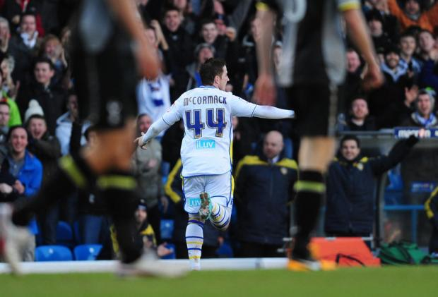WINNER: Ross McCormack celebrates Leeds' second goal