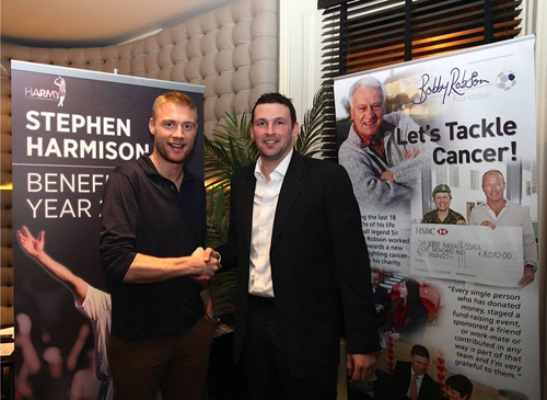 GOOD FRIENDS: Steve Harmison with Andrew Flintoff at the launch of the Durham bowler's benefit year last week