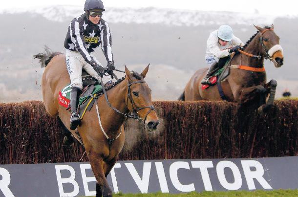 LATE BURST: Cape Tribulation, right, riddden by Denis O'Regan clears the hurdle to get by Imperial Commander, ridden by Paddy Brennan, in the Argento Chase