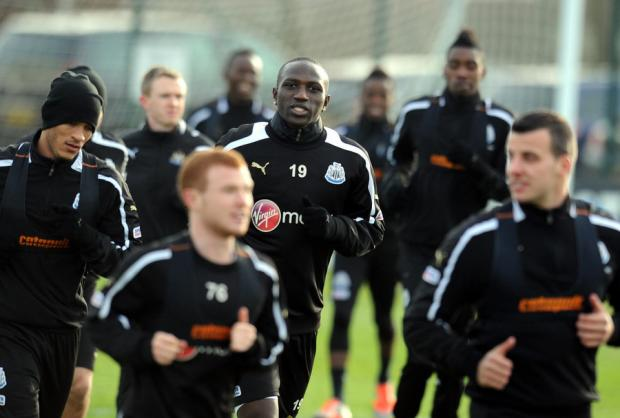 LOOKING TO START: Moussa Sissoko, centre, is one of Newcastle's new signings expected to start at Aston Villa tonight