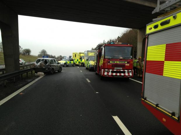 The accident scene Twitter Pic by: @DurhamRPU