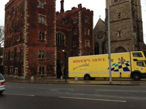 BISHOP'S MOVE: The removals van outside Lambeth Palace