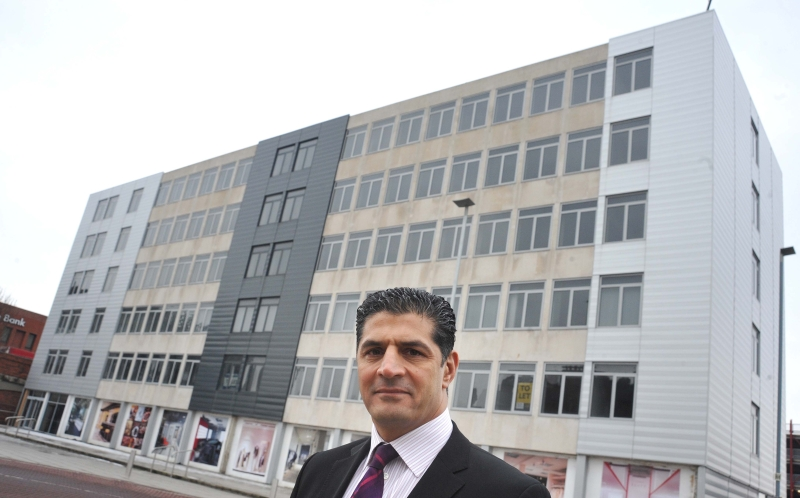 Developer Nassir Din outside Crown House as work starts to transform it into Boho Six