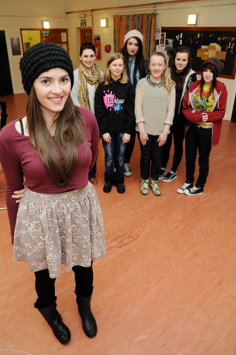 Actress Madeleine Clark with members of Clarks Theatrical Arts, a stage school launched thanks to help from Redcar and Cleveland Enterprise Team.