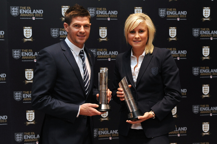 PRIDE OF HER NATION: Steph Houghton (pictured receiving the FA's Player of the Year award) captained England for the first time on Friday