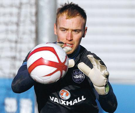 SAFE HANDS: Boro goalkeeper Jason Steele was training with the full England squad yesterday, as two of the region's goalkeepers stepped in to assist the senior squad. Steele, an under- 21 international, and under-19 stopper Jordan Pickford, on Sunderlan