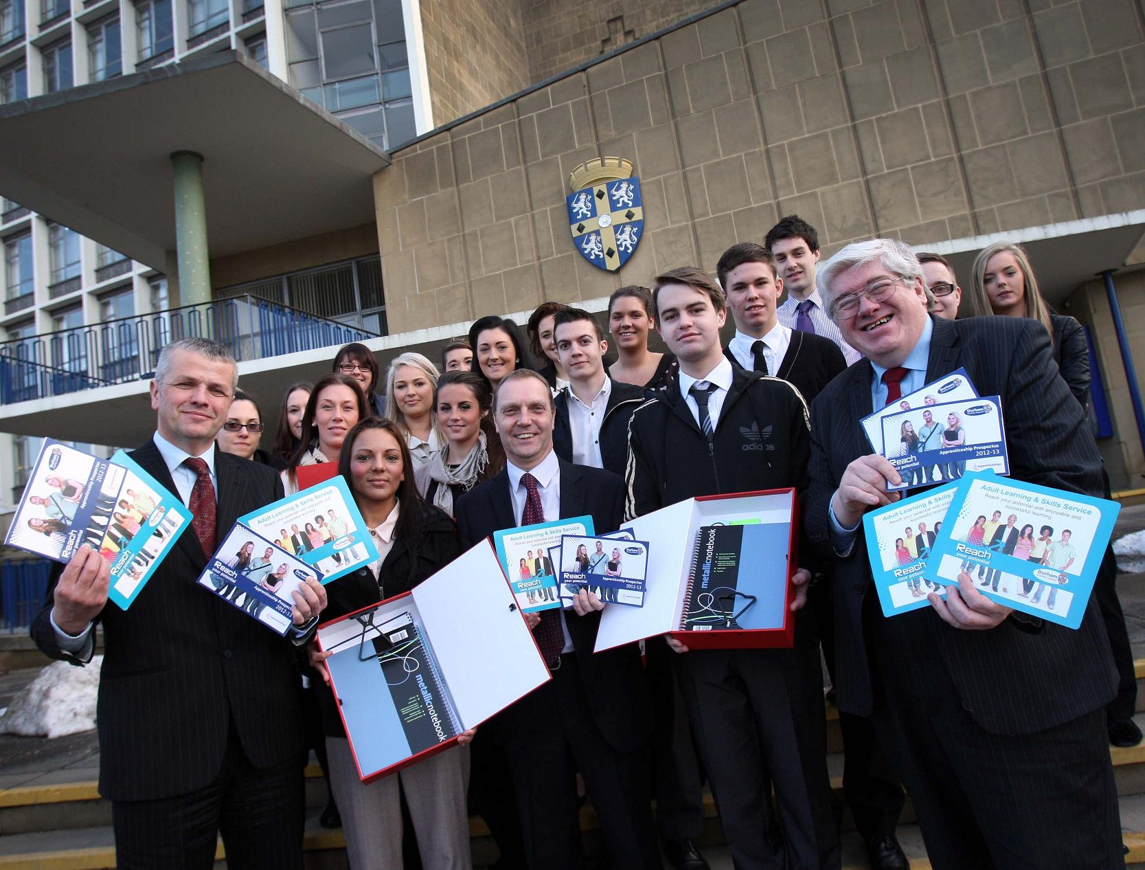 Councillors and officials greet the new apprentices