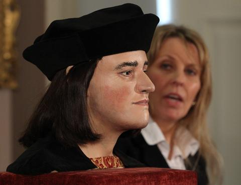 Philippa Langley, originator of the 'Looking for Richard III' project, with the reconstructed face of King Richard III