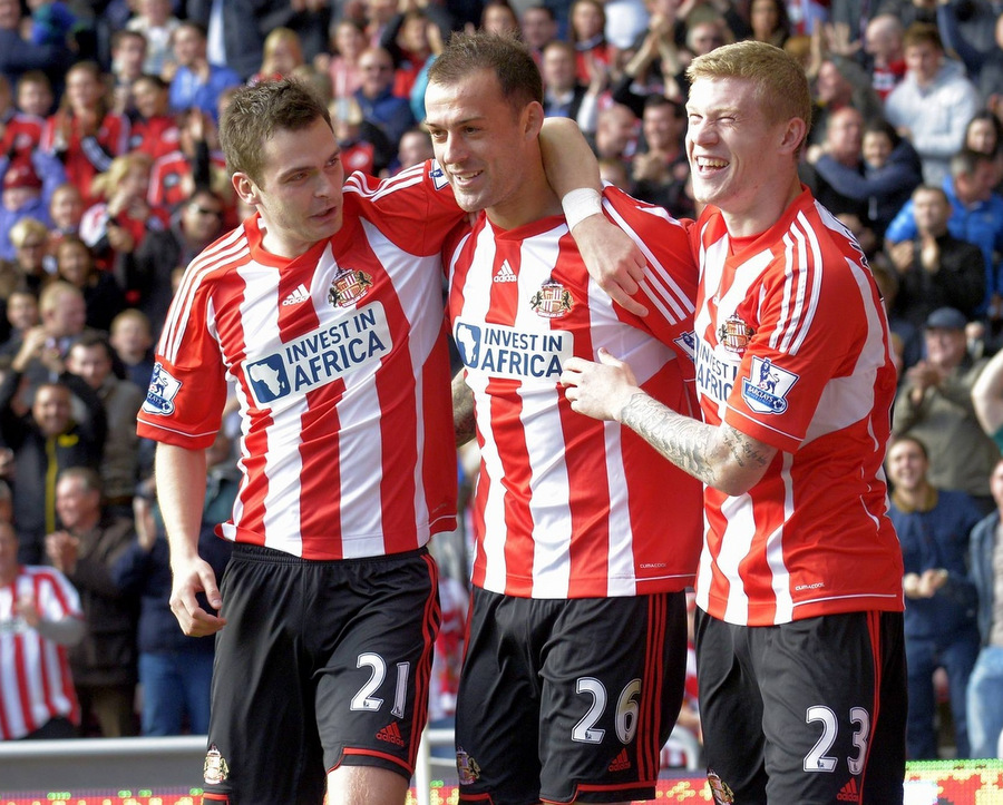 HAPPY DAYS: Adam Johnson, Steven Fletcher and James McClean celebrate a goal for Sunderland – but the arrival of Danny Graham has given Martin O'Neill options