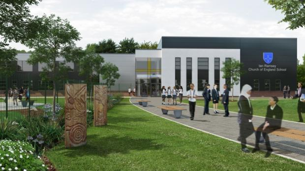 Artist's impression of new school building at Ian Ramsey School