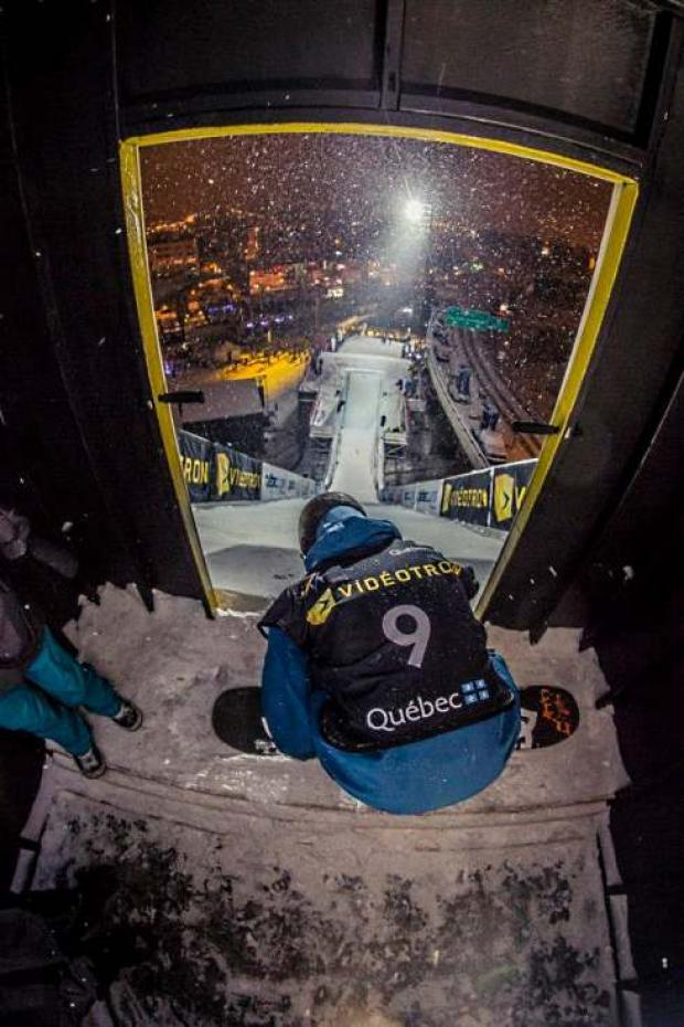 Sam Turnbull in action at the World Snowboarding Championships in Quebec, Canada. FIS C-2: Sam Turnbull prepares