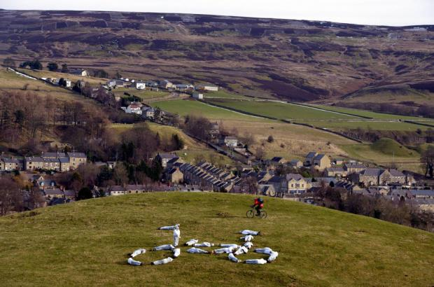 The White Bike of Durham was created this morning high above Stanhope, in Weardale, County Durham