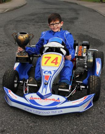 GET KARTER: James Lowther at the wheel of his go-kart.