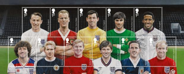 HEADS UP: Front row; Kevin Keegan, Denis Law, Bobby Moore, Bryan Robson, Dave Mackay, Bobby Charlton. Back row; Jimmy Greaves, John Charles, Gordon Banks, George Best, John Barnes
