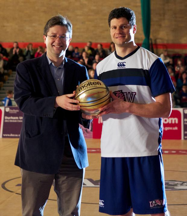 WINNER: Ralph Bucci of Durham Wildcats receives his BBL Player of the Month award from
