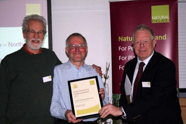 The Northern Echo: Award-winning volunteers John Worsnop and Peter Ditchburn with Poul Christensen, chair of Natural England.