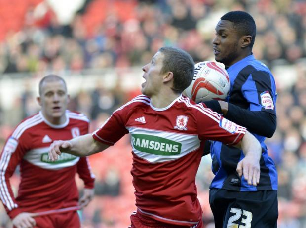 AERIAL BATTLE: Boro's Grant Leadbitter loses out to Kelvin Etuhu in Saturday's home defeat