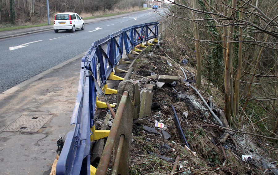 The scene of the accident between E