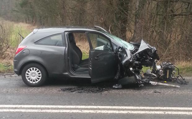 The Northern Echo: The Vauxhall Corsa involved in the crash on the A67