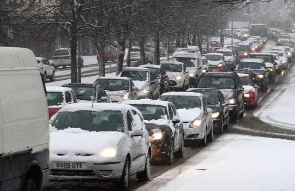 Snow causes traffic chaos in Darlington