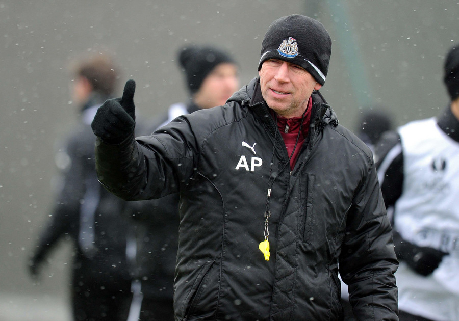 THUMBS UP: Alan Pardew takes training yesterday