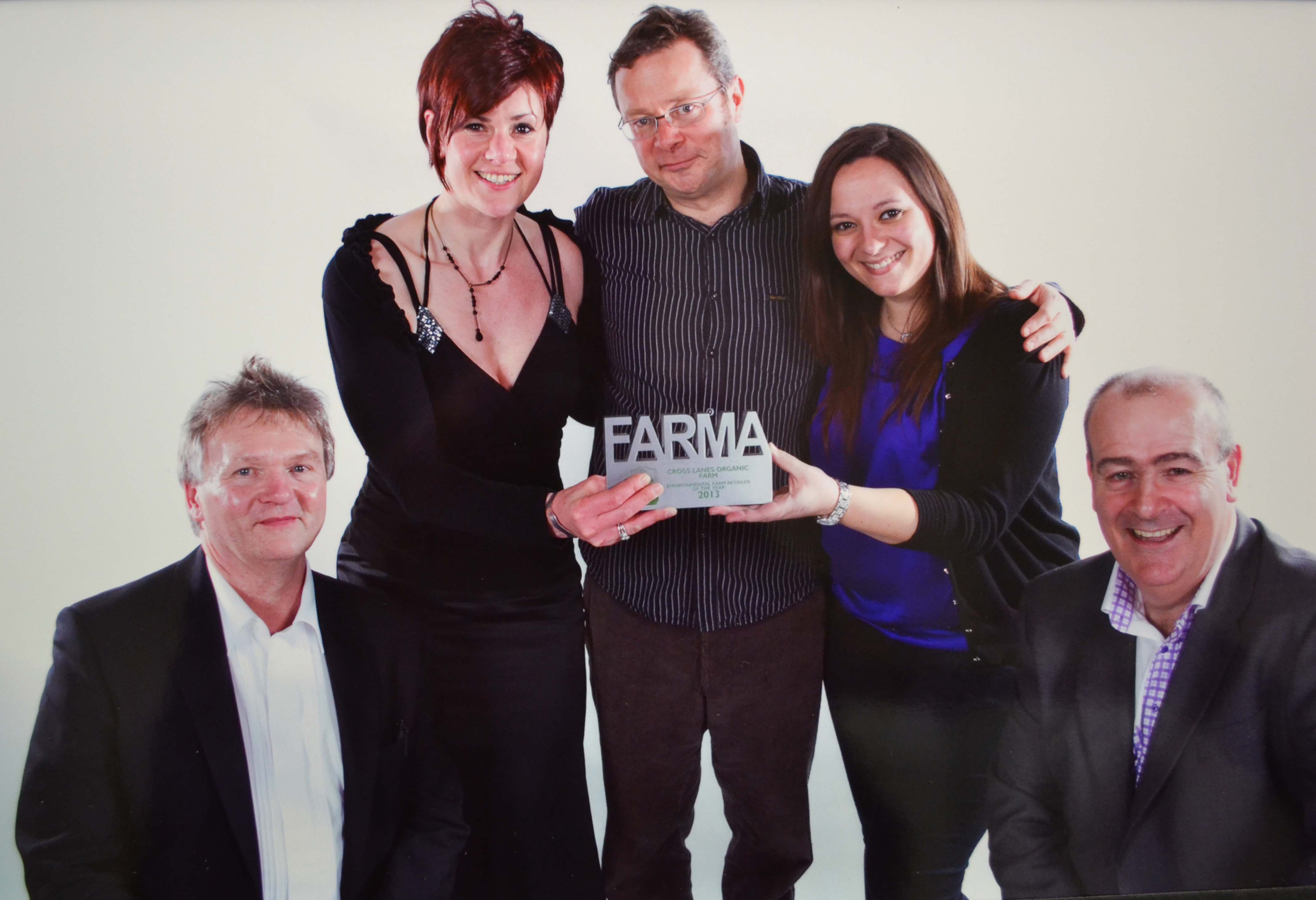 FARMA AWARD: From left, Peter Coverdale and Deborah Hare, from Cross Lanes Organic Farm, received their FARMA award from campaigner Hugh Fearnley-Whittingstall, with Vlora Salihi and Steve Mitchell from sponsors Ecover.