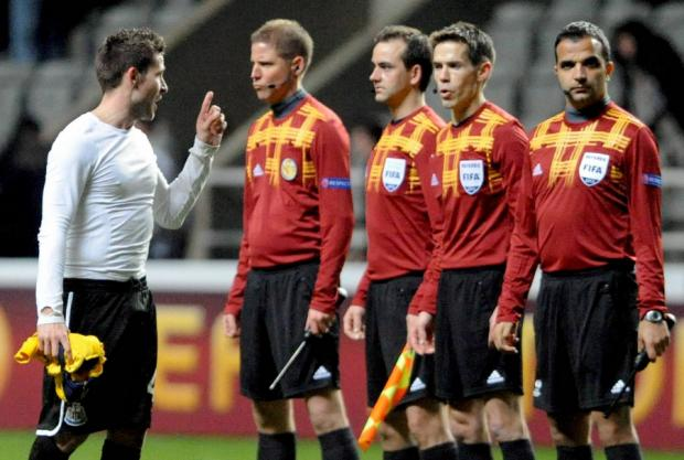 "YOU GOT IT WRONG: Yohan Cabaye lets his feelings known to the officials at the end of Newcastle's 0-0 Europa League game after his side had two goals ruled out for offside. His manager Alan Pardew insisted: ""Both goals were goals. If you see the repla"