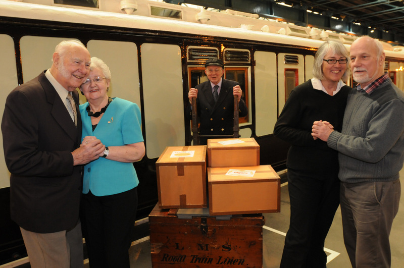 STATION STORIES: Valentine's couples relive their railway romance at the National Railway Museum yesterday. From left, Margaret and