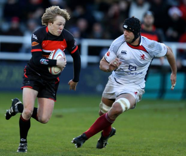 PERFECT RECORD: Joel Hodgson, left, in action during one of Newcastle Falcons 14 wins from 14 games this season