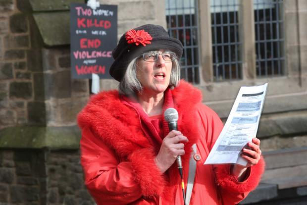 MAKING A STAND: Compere Julie Ward begins the speeches about anti-violence to women in Durham Market Place yesterday