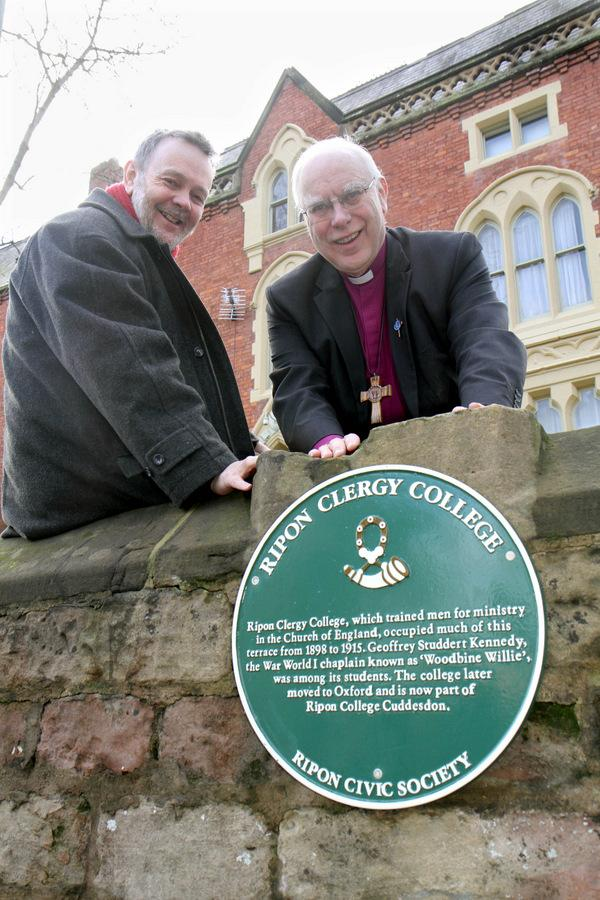 The Chairman of Ripon Civic Society,David Winpenny and the Bishop of Ripon and Leeds,The Rt Rev John Packer, with the new plaque outside the former Ripon Clergy College where 'Woodbine Willie' trained