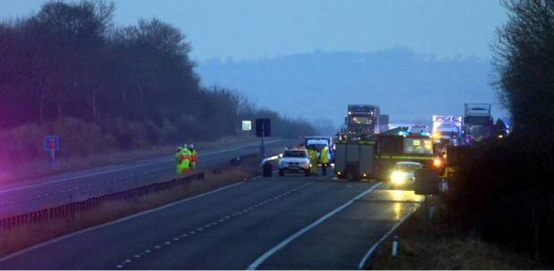 Emergency services at the crash scene on the A1(M)