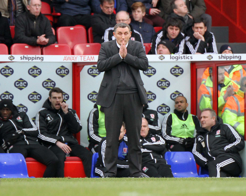 PRAYING FOR A MIRACLE? Tony Mowbray watches his Middlesbrough side take a thumping at Crystal Palace