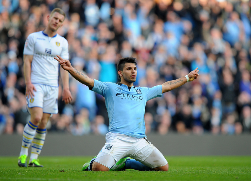 KICK-START: Sergio Aguero scored twice at the Etihad Stadium in a 4-0 win over Leeds United, with manager Roberto Mancini hoping that the Argentine striker can stay in form for the Premier League run-in