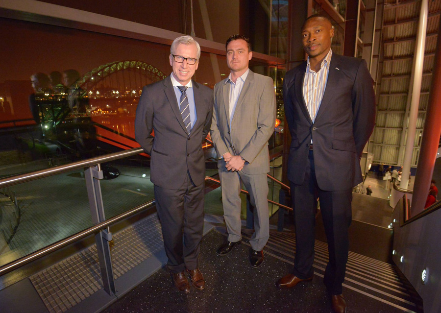 HAPPY MEMORIES: Current Newcastle boss Alan Pardew, with Steve Harper and Shola Ameobi – who both played under Sir Bobby Robson at Newcastle – at last night's event at The Sage in Gateshead