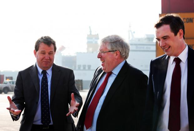ALL SMILES: From left, PD Ports chief executive David Robinson, Secretary of State for Transport Patrick McLoughlin, and James Wharton, MP for Stockton South, at Teesport yesterday